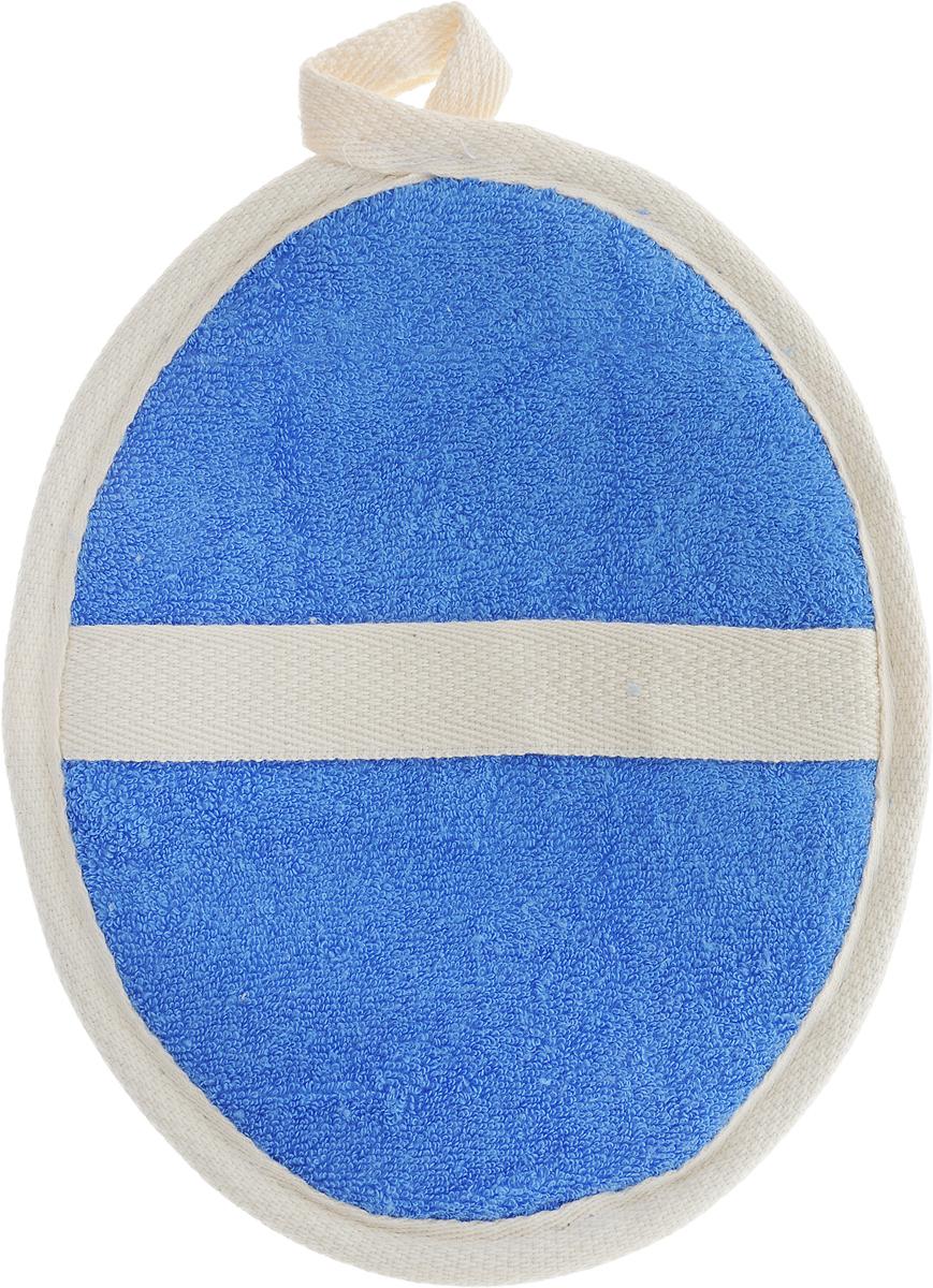 Мочалка Eva Овал, цвет: синий, бежевый, 14 х 18 см мочалка из люфы eva м22