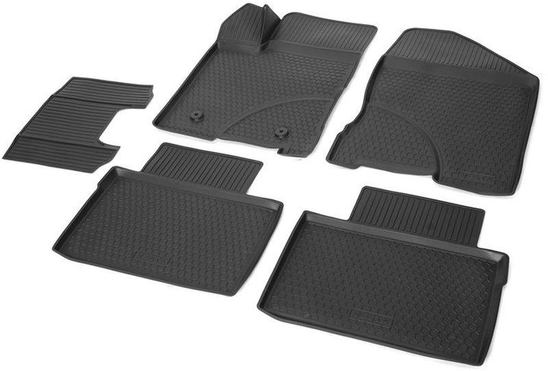 Коврики салона Rival, для Ford Fiesta (SD, HB) 2015-, 5 шт11805001Прочные и долговечные коврики Rival в салон автомобиля, изготовлены из высококачественного и экологичного сырья, полностью повторяют геометрию салона вашего автомобиля. - Усиленная зона подпятника под педалями защищает наиболее подверженную истиранию область.- Надежная система крепления, позволяющая закрепить коврик на штатные элементы фиксации, в результате чего отсутствует эффект скольжения по салону автомобиля.- Высокая стойкость поверхности к стиранию.- Специальный рисунок и высокий борт, препятствующие распространению грязи и жидкости по поверхности коврика.- Произведены из первичных материалов, в результате чего отсутствует неприятный запах в салоне автомобиля.- Перемычка задних ковриков в комплекте предотвращает загрязнение тоннеля карданного вала.- Высокая эластичность, можно беспрепятственно эксплуатировать при температуре от -45°C до +45°С. Уважаемые клиенты!Обращаем ваше внимание, что коврики имеет форму соответствующую модели данного автомобиля. Фото служит для визуального восприятия товара.