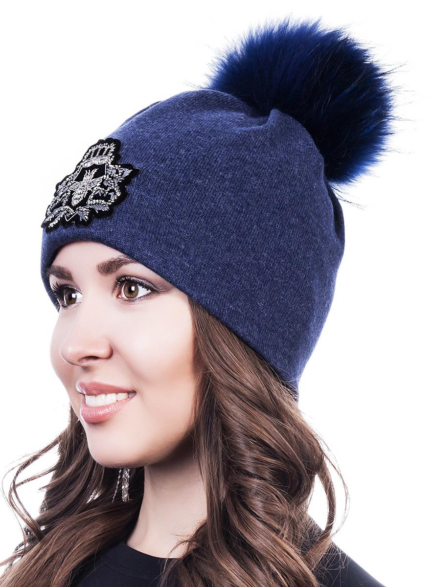 Шапка женская Level Pro Шеврон, цвет: синий меланж, серебристый. 998872. Размер 56/58998872Женская шапка Level Pro Шеврон отлично дополнит ваш образ в холодную погоду. Модель выполнена из высококачественной пряжи. Для комфорта и тепла внутри шапки предусмотрена мягкая флисовая подкладка. Шапка дополнена пушистым помпоном на макушке. Изделие украшено нашивкой. Такая шапка станет модным и стильным дополнением вашего гардероба, в ней вам будет уютно и тепло!