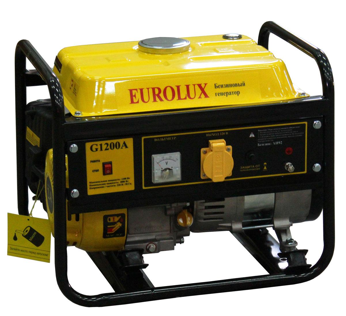 Электрогенератор Eurolux G1200A64/1/35Номинальная мощность - 1000 ВтМаксимальная мощность - 1200 ВтЧастота - 50 ГцВыходное напряжение - 220 ВУровень шума - 75 дБ (А)Расход топлива - 450 г/кВтчЁмкость бензобака - 6000 мл