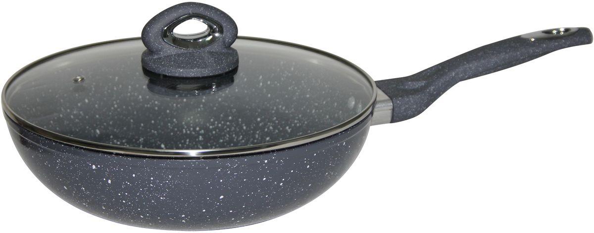 Сковорода-вок Bekker, с крышкой, с антипригарным покрытием. Диаметр 28 см. BK-7920 сковорода вок pyrex gusto с антипригарным покрытием диаметр 28 см