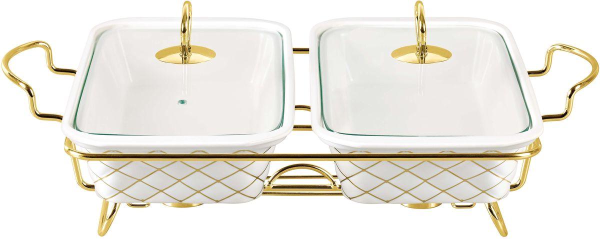 Мармит Bekker, двойной, с крышкой, на подставке, 1,6 л. BK-7375BK-7375Двойной прямоугольный мармит Bekker состоит из двух форм и изготовлен из жаропрочной керамики. Предназначен для приготовления или сохранения пищи в подогретом виде. Стеклянные крышки имеет ручки из нержавеющей стали золотистого цвета. Подставка выполнена из металла золотистого цвета.Подходит для использования (без крышки) в СВЧ, в духовом шкафу, чистки в посудомоечной машине. Объем одной формы: 1,6 л Размер одной формы: 33 х 18,6 см