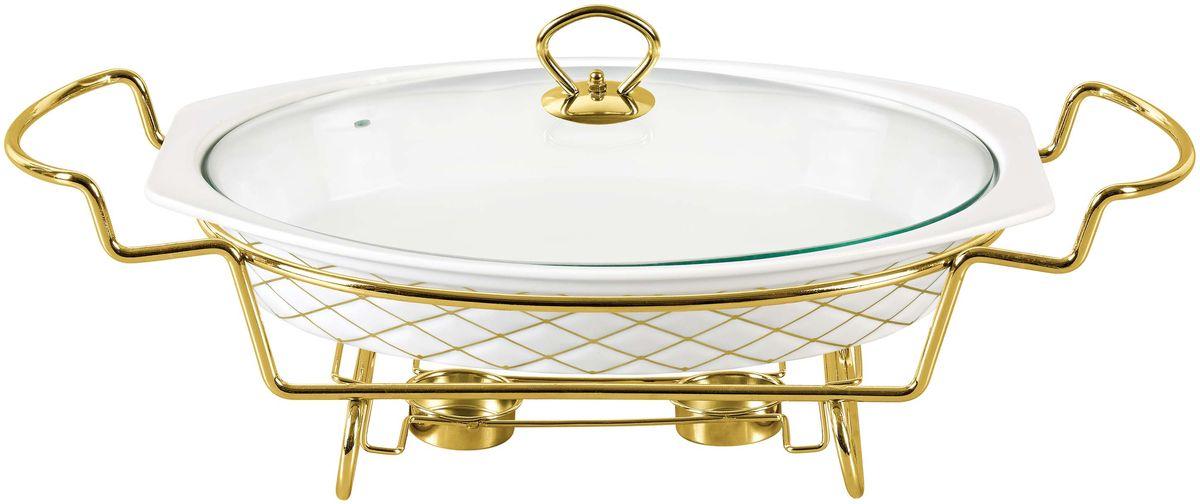 Мармит Bekker, с крышкой, 1,6 л. BK-7376BK-7376Форма: 1,6 л / 31,5х22,3 см. Крышка стеклянная с ручкой из нержавеющей стали под золото. Подставка металлическая под золото. Предназначен для приготовления и/или сохранения пищи в подогретом виде. Подходит для использования (без крышки) в СВЧ, в духовом шкафу, чистки в посудомоечной машине. Состав: жаропрочная керамика.