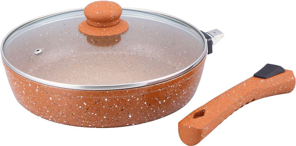 Сковорода Bekker, с крышкой, со съемной ручкой. Диаметр 28 см. BK-3794BK-3794Сковорода Bekker выполнена из алюминия, который обладает не толькопревосходными теплораспределительными свойствами, но и устойчивостью кдеформации даже при интенсивном использовании.Толщина дна и высота бортов сковороды оптимальны для различных способовприготовления. Крышка из термостойкого стекла позволяет следить запроцессом приготовления без потери тепла.Специальное отверстие для выхода пара позволяет готовить с закрытойкрышкой, предотвращая выкипание. Сковорода Bekker оснащена съемной бакелитовой ручкой. Изделие подходитдля всех типов плит. Также его можно мыть в посудомоечной машине. Диаметр сковороды: 28 см.Высота стенки: 6,8 см.Толщина стенки: 2,5 мм. Толщина дна: 3,5 мм.