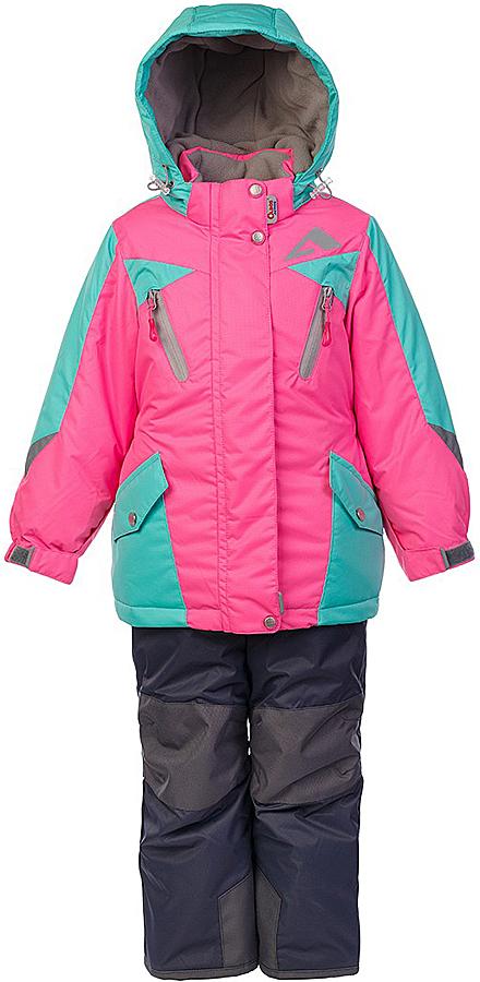 Комплект для девочки Oldos Active Авелина: куртка и полукомбинезон, цвет: розовый, мятный. 1A7SU00. Размер 98, 3 года1A7SU00Технологичный зимний костюм: куртка и брюки со спинкой. Внешнее покрытие TEFLON - защита от воды и грязи, износостойкость, за изделием легко ухаживать. Мембрана 5000/5000 обеспечивает водонепроницаемость, одежда дышит. Гипоаллергенный утеплитель HOLLOFAN PRO 200/150 г/м2 - эффективно удерживает тепло и дарит свободу движения. Подкладка - флис, в рукавах и брючинах – гладкий полиэстер. Карманы на молнии, внутренний карман с нашивкой-потеряшкой. Костюм имеет светоотражающие элементы. Изделие прекрасно защитит от ветра и снега, т.к. имеет ряд особенностей. В куртке: съемный капюшон с регулировкой объема, воротник-стойка, ветрозащитные планки, снего-ветрозащитная юбка. Манжеты на рукавах регулируются по ширине, есть эластичные манжеты с отверстием для большого пальца. Низ куртки регулируется по ширине. В брюках: широкие эластичные регулируемые подтяжки, карманы, усиление в местах износа, снего-ветрозащитные муфты. Спинка и подтяжки отстегиваются. Рекомендовано от минус 30°С до плюс 5°С.