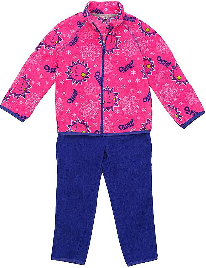Комплект для девочки флисовый Oldos Active Дори: кофта, брюки, цвет: розовый, синий. 4КС1701. Размер 98, 3 года4КС1701Мягкий и теплый костюм OLDOS ACTIVE Дори из флиса для девочки. Флис имеет двустороннюю антипиллинговую обработку, что позволяет надолго сохранить внешний вид и его основные характеристики. Костюм состоит из принтованной кофты на молнии и однотонных брюк. Воротник-стойка кофты хорошо прилегает и закрывает шею ребенка от ветра. Изнутри шов воротника укреплен х/б лентой, что предотвращает деформацию и натирание. В пояс брюк вшита резинка, есть возможность отрегулировать посадку по талии с помощью внутреннего шнурка. Низ кофты, рукавов и брючин окантованы эластичной тесьмой. В флисовом костюме будет комфортно и тепло на улице и в помещении. Может быть использован зимой в качестве второго слоя под верхнюю одежду. Костюм прекрасно сочетается с мембранной одеждой OLDOS ACTIVE.