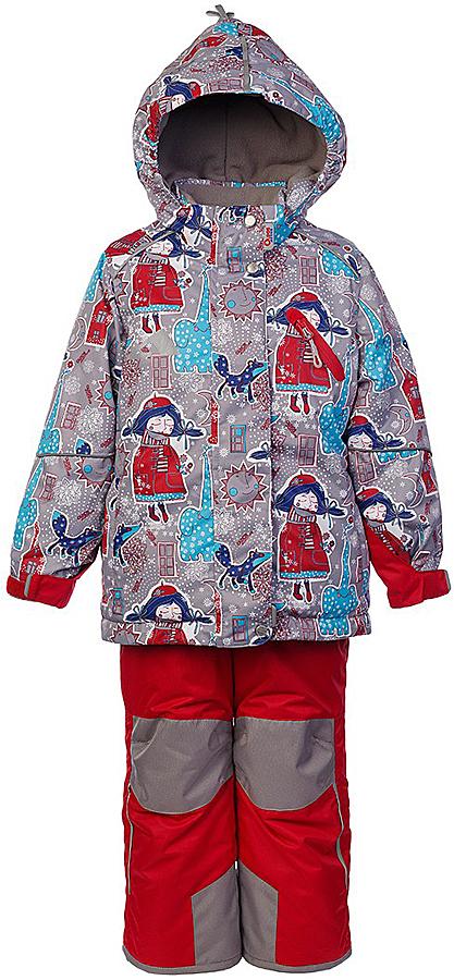 Комплект для девочки Oldos Active Нелли: куртка и полукомбинезон, цвет: серый, рубиновый. 1A7SU01. Размер 104, 4 года1A7SU01Технологичный зимний костюм OLDOS ACTIVE Нелли состоит из куртки и полукомбинезона. Внешнее покрытие TEFLON - защита от воды и грязи, износостойкость, за изделием легко ухаживать. Мембрана 5000/5000 обеспечивает водонепроницаемость, одежда дышит. Гипоаллергенный утеплитель HOLLOFAN PRO 200/150 г/м2 - эффективно удерживает тепло и дарит свободу движения. Подкладка - флис, в рукавах и брючинах – гладкий полиэстер. Карманы на молнии, внутренний карман с нашивкой-потеряшкой. Полукомбинезон приталенный. Костюм имеет светоотражающие элементы. Изделие прекрасно защитит от ветра и снега, т.к. имеет ряд особенностей. В куртке: съемный капюшон с регулировкой объема, воротник-стойка, ветрозащитные планки, снего-ветрозащитная юбка. Манжеты на рукавах регулируются по ширине, есть эластичные манжеты с отверстием для большого пальца. Низ куртки регулируется по ширине. В полукомбинезоне: широкие эластичные регулируемые подтяжки, карманы, усиление в местах износа, снего-ветрозащитные муфты. Рекомендовано от минус 30°С до плюс 5°С.