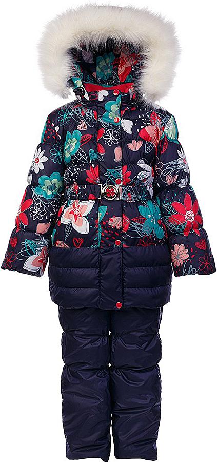 Комплект для девочки Oldos Ромашка: куртка и полукомбинезон, цвет: синий, мультиколор. 1O7SU00. Размер 128, 8 лет1O7SU00Теплый комплект для девочки Oldos Ромашка идеально подойдет для вашей малышки в холодное время года. Комплект состоит из куртки и полукомбинезона, изготовленных из водоотталкивающей ткани. В качестве наполнителя используется искусственный лебяжий пух: легкий, как натуральный, отлично сохраняет тепло, не впитывает влагу, держит и быстро восстанавливает объем, гипоаллергенен.Подкладка - флис, в рукавах и полукомбинезоне – полиэстер.Куртка застегивается на застежку-молнию и дополнительно имеет двойную ветрозащитную планку с защитой подбородка. Имеется отстегивающийся капюшон, декорированный меховой опушкой, которую можно легко отстегнуть. Манжеты рукавов из эластичной трикотажной резинки, которая мягко обхватывает запястья, не позволяя просачиваться холодному воздуху. На талии куртка дополнена эластичным пояском на металлической застежке, благодаря которому куртка плотно прилегает к телу. Спереди расположены карманы. На подкладке куртки предусмотрена нашивка-потеряшка.Полукомбинезон с небольшой грудкой застегивается на застежку-молнию и имеет наплечные широкие лямки, регулируемые по длине. На талии имеется широкая эластичная резинка, которая позволяет надежно заправить рубашку, водолазку или свитер. Снизу брючин предусмотрены внутренние муфты из нескользящей резинки, препятствующие попадаю снега и холодного воздуха в обувь.Куртка и полукомбинезон дополнены светоотражающими элементами. Рекомендованный температурный режим от 0°С до -35°С.Комфортный, удобный и практичный этот комплект идеально подойдет для прогулок и игр на свежем воздухе!
