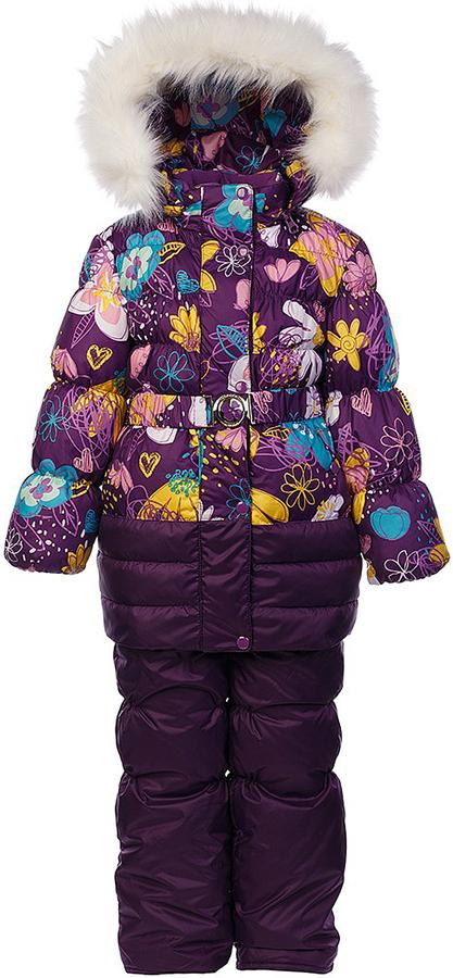 Комплект для девочки Oldos Ромашка: куртка и полукомбинезон, цвет: фиолетовый, мультиколор. 1O7SU00. Размер 116, 6 лет1O7SU00Теплый комплект для девочки Oldos Ромашка идеально подойдет для вашей малышки в холодное время года. Комплект состоит из куртки и полукомбинезона, изготовленных из водоотталкивающей ткани. В качестве наполнителя используется искусственный лебяжий пух: легкий, как натуральный, отлично сохраняет тепло, не впитывает влагу, держит и быстро восстанавливает объем, гипоаллергенен.Подкладка - флис, в рукавах и полукомбинезоне – полиэстер.Куртка застегивается на застежку-молнию и дополнительно имеет двойную ветрозащитную планку с защитой подбородка. Имеется отстегивающийся капюшон, декорированный меховой опушкой, которую можно легко отстегнуть. Манжеты рукавов из эластичной трикотажной резинки, которая мягко обхватывает запястья, не позволяя просачиваться холодному воздуху. На талии куртка дополнена эластичным пояском на металлической застежке, благодаря которому куртка плотно прилегает к телу. Спереди расположены карманы. На подкладке куртки предусмотрена нашивка-потеряшка.Полукомбинезон с небольшой грудкой застегивается на застежку-молнию и имеет наплечные широкие лямки, регулируемые по длине. На талии имеется широкая эластичная резинка, которая позволяет надежно заправить рубашку, водолазку или свитер. Снизу брючин предусмотрены внутренние муфты из нескользящей резинки, препятствующие попадаю снега и холодного воздуха в обувь.Куртка и полукомбинезон дополнены светоотражающими элементами. Рекомендованный температурный режим от 0°С до -35°С.Комфортный, удобный и практичный этот комплект идеально подойдет для прогулок и игр на свежем воздухе!