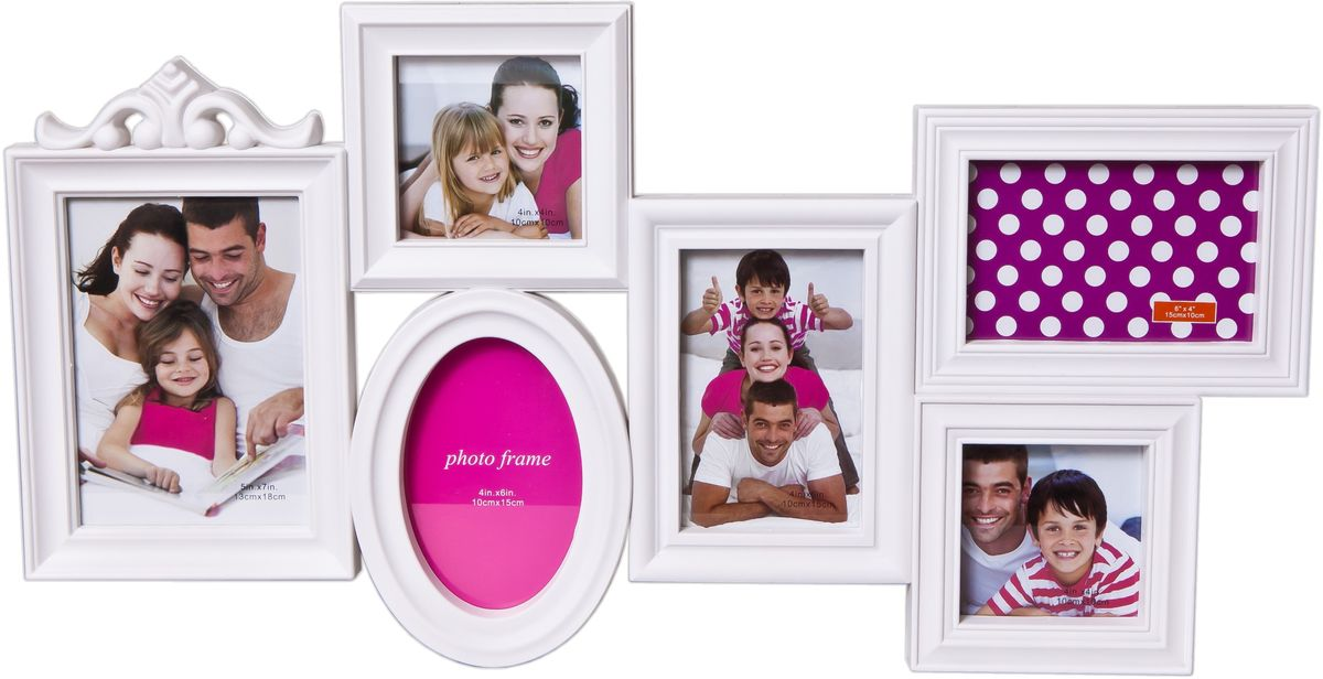 Фоторамка-коллаж Platinum, цвет: белый, 6 фоторамок. BH-1306-WBH-1306-WПластиковый коллаж с 3 фото 10 х 15 см, 2 фото 10 х 10см, 1 фото 13 х 13 см.