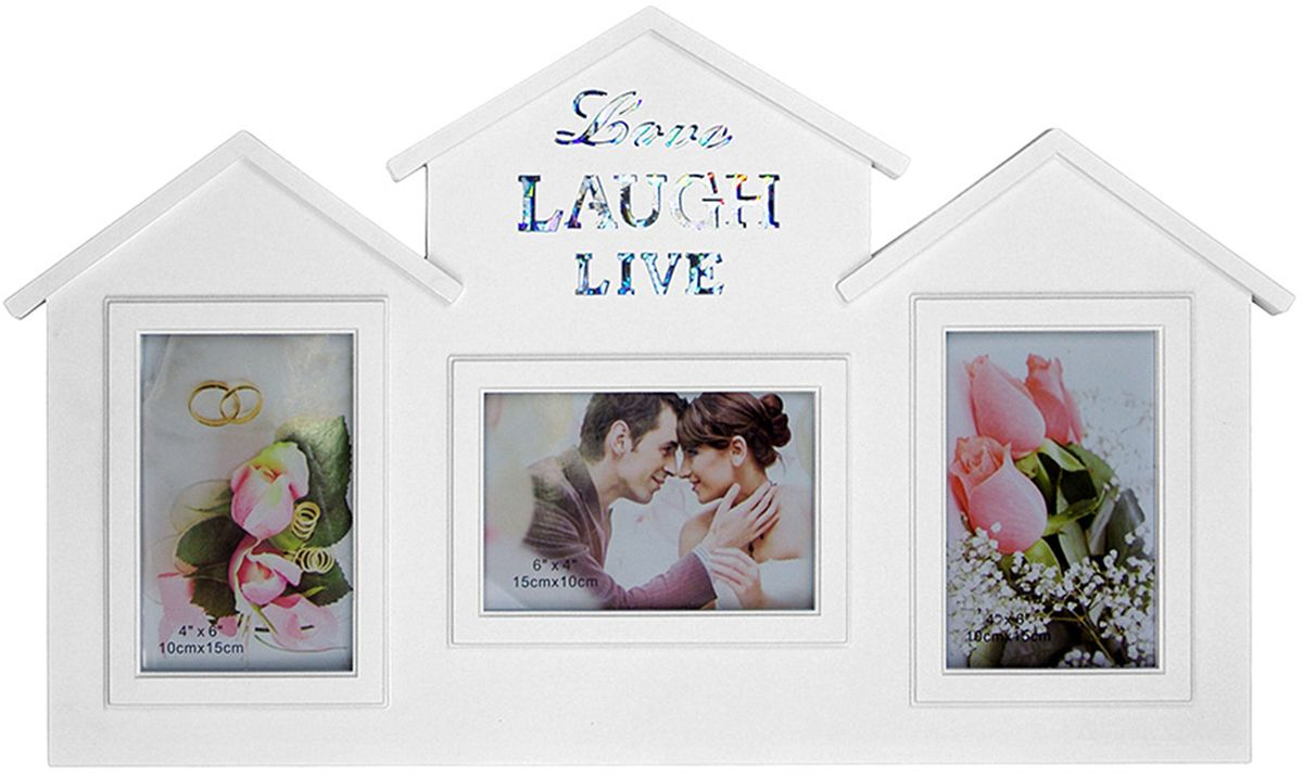 Фоторамка-коллаж Platinum Love, Laugh, Live, цвет: белый, 3 фоторамки. BH-1501-WBH-1501-WПластиковый коллаж с 2 фото 15 х 10 см, 1 фото 10 х 15 см