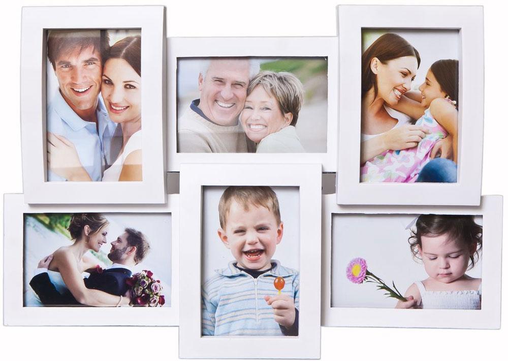 Фоторамка-коллаж Platinum, 6 фото, 10 х 15 см, цвет: белыйBH-2206-WФоторамка-коллаж Platinum - прекрасный способ красиво оформить ваши фотографии. Фоторамка выполнена из пластика и защищена стеклом. Фоторамка-коллаж представляет собой 6 фоторамок для фото оригинально соединенных между собой. Такая фоторамка поможет сохранить в памяти самые яркие моменты вашей жизни, а стильный дизайн сделает ее прекрасным дополнением интерьера комнаты.Фоторамка подходит для 6 фотографий 10 х 15 см.Общий размер фоторамки: 32 х 46 см.