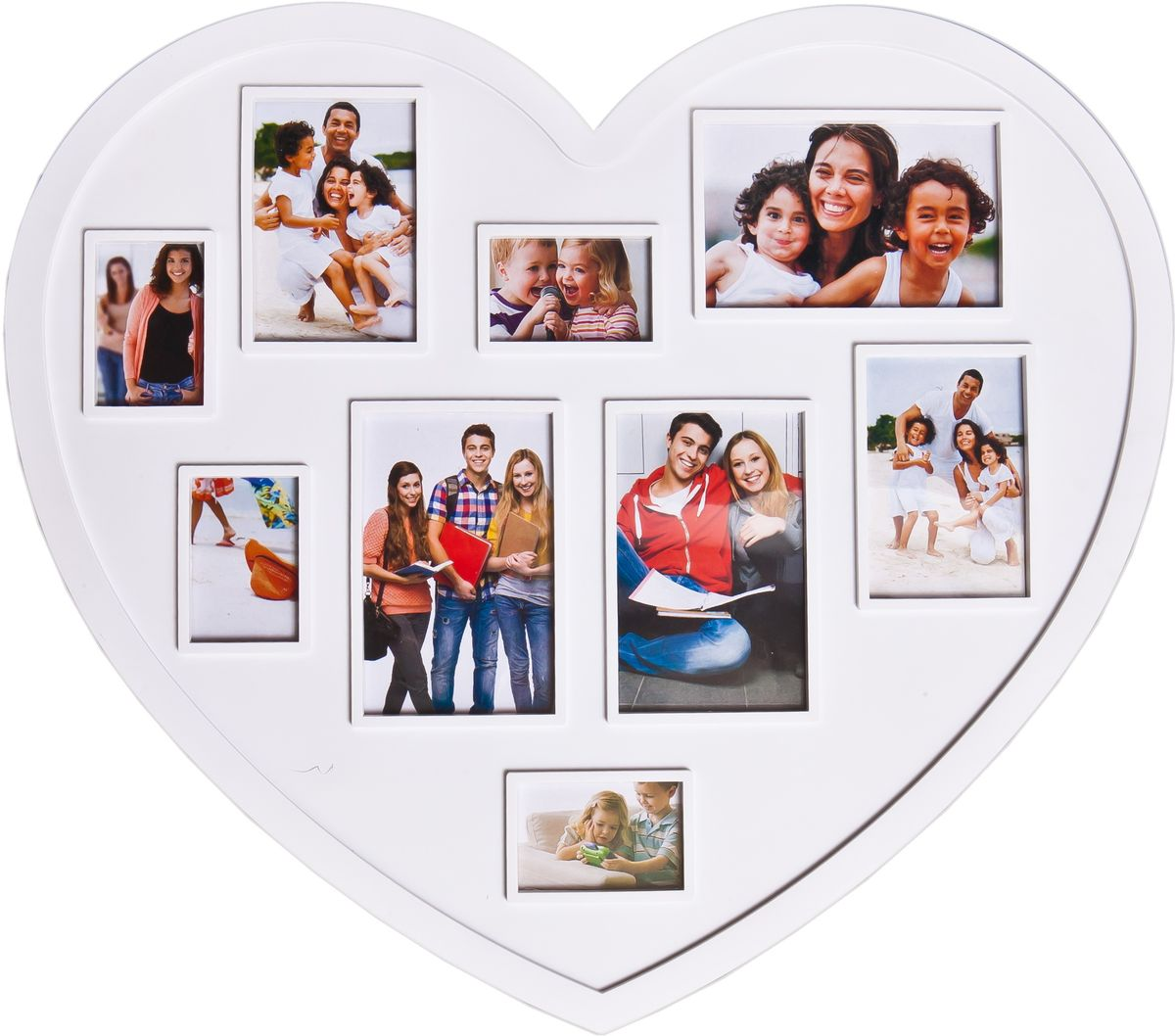 Фоторамка-коллаж Platinum, цвет: белый, 9 фоторамок. BH-2301-WBH-2301-WПластиковый коллаж с 3 фото 10 х 15 см, 2 фото 11 х 8 см, 4 фото 8 х 5 см.