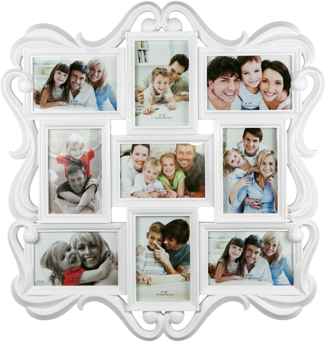 Фоторамка Platinum, цвет: белый, на 9 фото, 10 х 15 см. BIN-1122982-WBIN-1122982-WФоторамка-коллаж Platinum - прекрасный способ красиво оформить ваши фотографии. Фоторамка выполнена из пластика и защищенастеклом.Фоторамка-коллаж представляет собой 9 фоторамок для фото одинакового размера оригинально соединенных между собой. Такая фоторамкапоможет сохранить в памяти самые яркие моменты вашей жизни, а стильный дизайн сделает ее прекрасным дополнением интерьера комнаты.Фоторамка подходит для 9 фотографий размером 10 х 15 см. Общий размер фоторамки: 56 х 54 см.