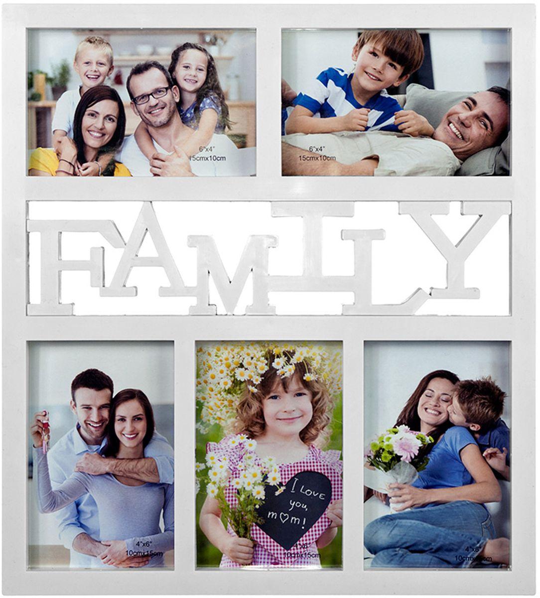 Фоторамка-коллаж Platinum Family, на 5 фото, цвет: белый. BIN-1123131-WBIN-1123131-WФоторамка-коллаж Platinum - прекрасный способ красиво оформить ваши фотографии.Фоторамка выполнена из пластика и защищена стеклом.Фоторамка-коллаж представляет собой 5 фоторамок для фото оригинально соединенных междусобой. Такая фоторамка поможет сохранить в памяти самые яркие моменты вашей жизни, астильный дизайн сделает ее прекрасным дополнением интерьера комнаты. Фоторамка подходит для 5 фотографий: 10 х 15 см.