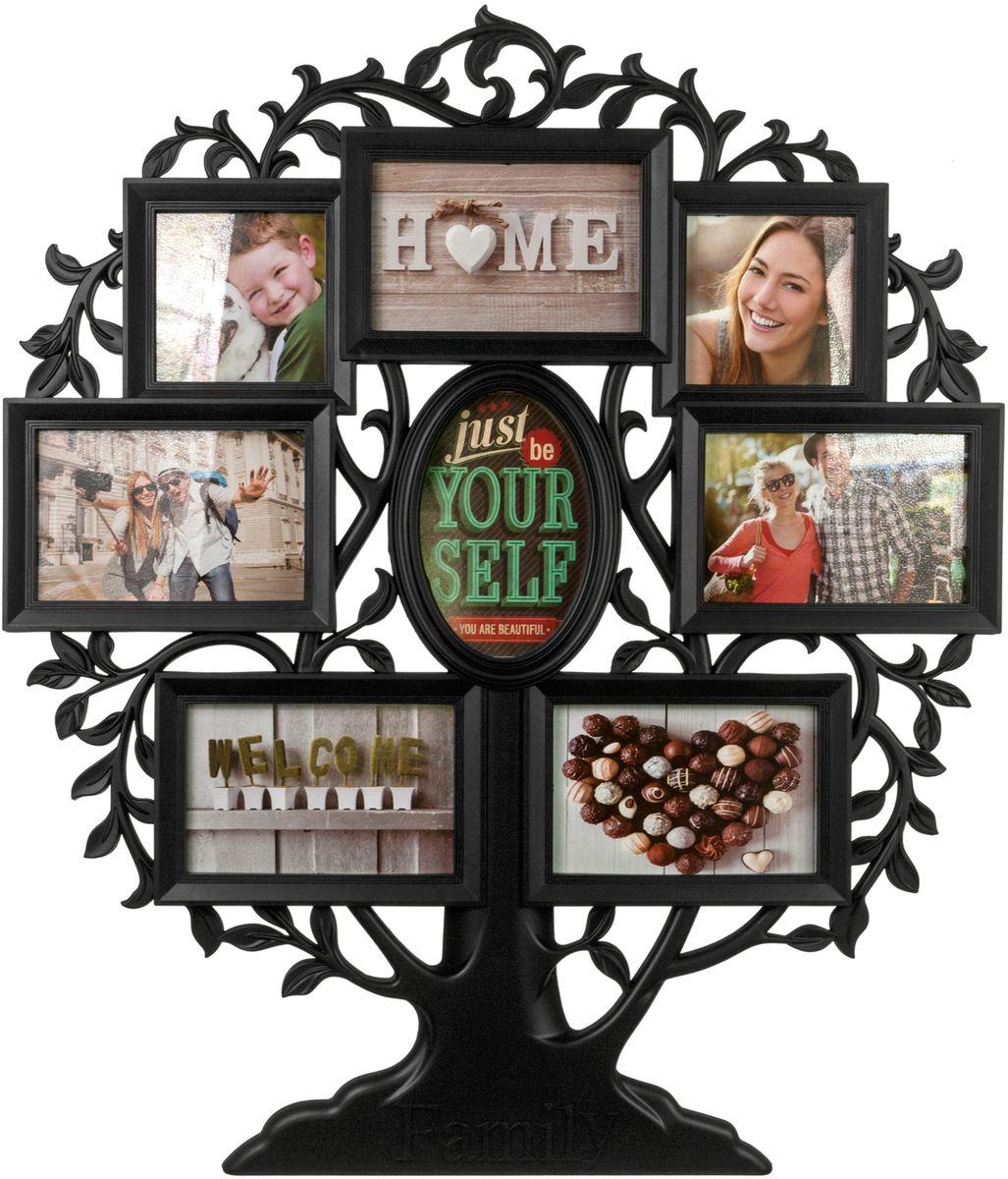 Фоторамка Platinum Родословное дерево. Family, цвет: черный, на 8 фото. BIN-1124063-B фоторамка platinum цвет белый на 8 фото 10 х 15 см bin 112187