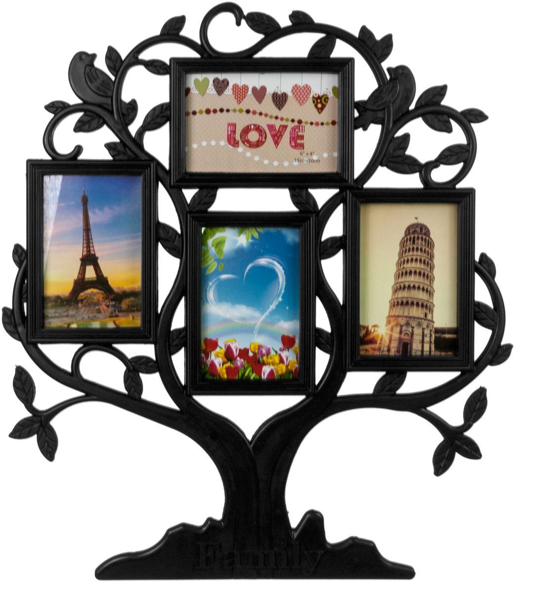 Фоторамка-коллаж Platinum Родословное дерево. Family, цвет: черный, 4 фоторамки. BIN-1124348-BBIN-1124348-BПластиковый коллаж с 4 фото 10 х 15 см.