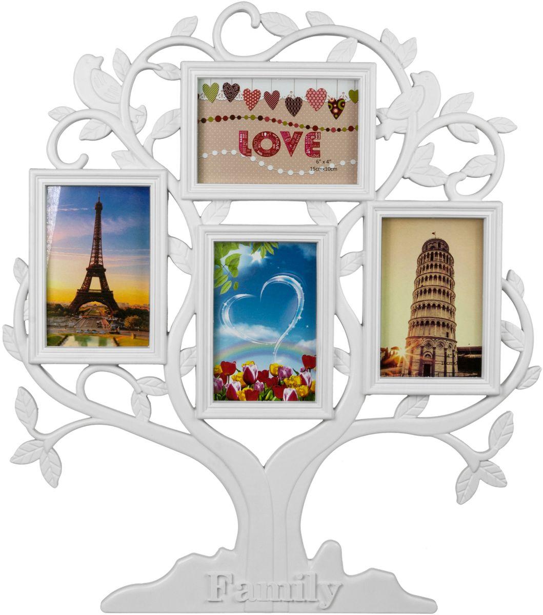 Фоторамка-коллаж Platinum Родословное дерево. Family, цвет: белый, 4 фоторамки. BIN-1124348-WBIN-1124348-WПластиковый коллаж с 4 фото 10 х 15 см.