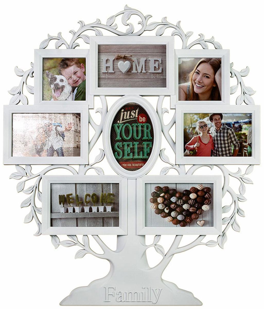 Фоторамка-коллаж Platinum Родословное дерево. Family, цвет: белый, 8 фоторамок. BIN-1124063-WBIN-1124063-WПластиковый коллаж с 6 фото 10 х 15 см, 2 фото 10 х 10 см.