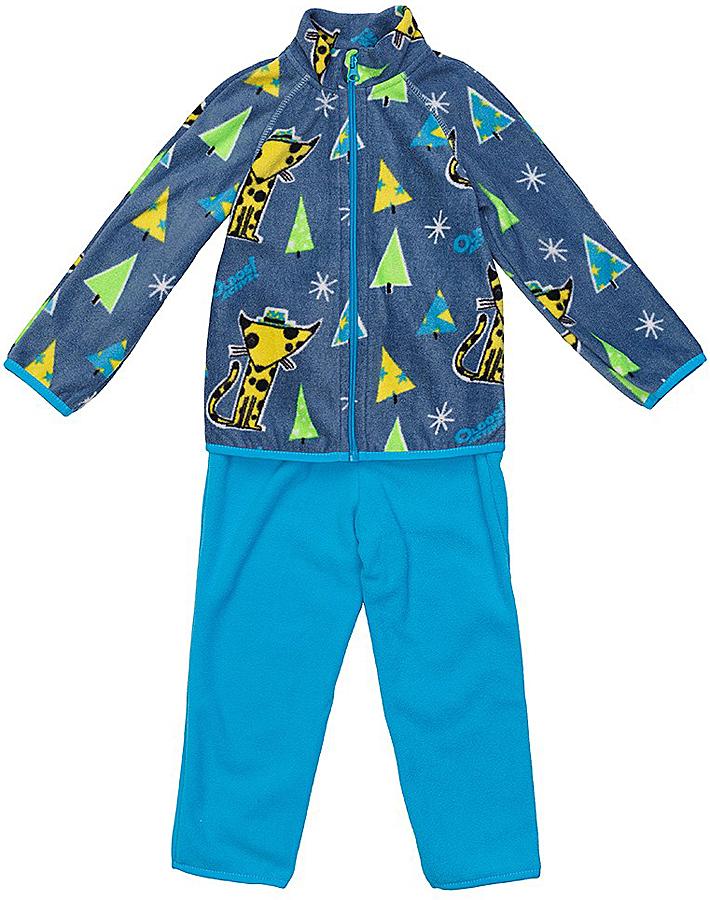 Комплект для мальчика флисовый Oldos Active Джак: кофта, брюки, цвет: серый, голубой. 4КС1703. Размер 92, 2 года4КС1703Мягкий и теплый костюм OLDOS ACTIVE Джак для мальчика выполнен из флиса. Флис имеет двустороннюю антипиллинговую обработку, что позволяет надолго сохранить внешний вид и его основные характеристики. Костюм состоит из принтованной кофты на молнии и однотонных брюк. Воротник-стойка кофты хорошо прилегает и закрывает шею ребенка от ветра. Изнутри шов воротника укреплен х/б лентой, что предотвращает деформацию и натирание. В пояс брюк вшита резинка, есть возможность отрегулировать посадку по талии с помощью внутреннего шнурка. Низ кофты, рукавов и брючин окантованы эластичной тесьмой. В флисовом костюме будет комфортно и тепло на улице и в помещении. Может быть использован зимой в качестве второго слоя под верхнюю одежду. Костюм отлично сочетается с мембранной одеждой OLDOS ACTIVE.