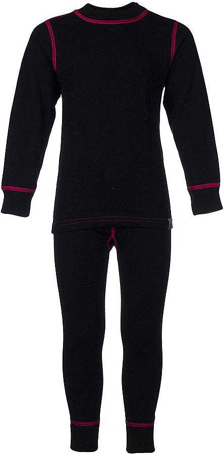 Комплект термобелья для девочки Oldos Active Warm: футболка с длинным рукавом, леггинсы, цвет: черный, розовый. 002ДН. Размер 110, 5 лет002ДНКомплект термобелья для девочки Oldos Active Warm состоит из футболки с длинным рукавом и леггинсов. Комплект изготовлен из двухслойного полотна, представляющий собой цельно вязаную ткань с различным составом нитей на лицевой и изнаночной сторонах. Синтетический слой внутри быстро и эффективно отводит влагу, а хлопок и шерсть снаружи сохраняют тепло. Плоские швы изделия не вызывают раздражений. Изнаночная сторона контрастного цвета.Футболка с длинными рукавами и круглым вырезом горловины имеет удлиненную спинку. На рукавах предусмотрены манжеты. Эластичный пояс на леггинсах обеспечивает комфортную посадку изделия на фигуре. Брючины дополнены широкими манжетами. Комплект оформлен контрастной прострочкой.Двухслойное термобелье снижает теплопотери организма в холодную погоду, добавляет ощущение комфорта, защищает организм от перегрева во время физических нагрузок. Термобелье может применяться при активном отдыхе, а также при повседневной носке. Рекомендуемый температурный режим от 0°С до -30°С.