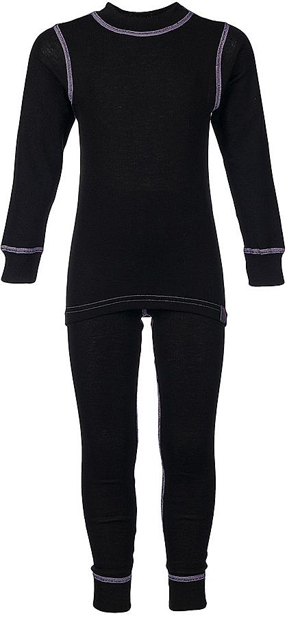 Комплект термобелья для девочки Oldos Active Base: футболка с длинным рукавом, леггинсы, цвет: черный, сиреневый. 001ДН. Размер 110, 5 лет001ДНУниверсальный комплект термобелья для девочки Oldos Active Base, состоящий из футболки с длинным рукавом и леггинсов, подойдет для вашего ребенка в прохладную погоду. Модель с однослойной структурой выполнена из полиэстера, она очень мягкая и приятная на ощупь. Эластичные плоские швы изделия не вызывают раздражений. Однослойное полотно с начесом обеспечит максимальное отведение влаги от тела ребенка и тепловой комфорт. Термобелье отличается от обычного белья лучшей способностью сохранять тепло между кожей и тканью, вдобавок оно более эластичное, благодаря чему оно не стесняет движений, не деформируется и служит дольше. Футболка с длинными рукавами и круглым вырезом горловины оформлена контрастной прострочкой. На рукавах предусмотрены широкие эластичные манжеты. Вырез горловины дополнен трикотажной резинкой. Спинка модели удлинена.Леггинсы имеют на поясе мягкую эластичную резинку, благодаря чему они не сдавливают животик ребенка и не сползают. Низ брючин дополнен широкими манжетами. Модель оформлена контрастной прострочкой.Комплект термобелья станет отличным дополнением к детскому гардеробу. Он может применяться при активном отдыхе, а также при повседневном ношении.Рекомендуемый температурный режим от +5°С до -25°С.