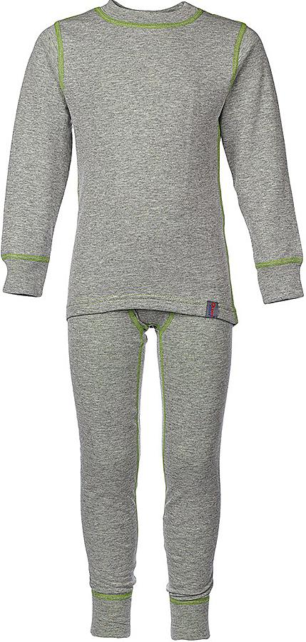 Комплект термобелья для мальчика Oldos Active Warm: футболка с длинным рукавом, кальсоны, цвет: светло-серый, лайм. 002МН. Размер 134, 9 лет002МНКомплект термобелья для мальчика Oldos Active Warm, состоящий из футболки с длинным рукавом и кальсон, предназначен для сохранения тепла и отвода влаги с поверхности тела.Термобелье отличается от обычного белья лучшей способностью сохранять тепло между кожей и тканью, вдобавок оно более эластичное, благодаря чему, оно не стесняет движений, не деформируется и служит дольше. Содержащийся в термобелье воздух, соприкасаясь с телом, нагревается до комфортной температуры. Таким образом, создается защитная прослойка из теплого воздуха между кожей и холодной внешней средой. При физической нагрузке кожа ребенка выделяет влагу, которая накапливаясь в ткани обычного белья, снижает его теплосберегающие свойства. На согревание и испарение этой влаги расходуется дополнительная энергия. Термобелье отводит влагу от тела. Защитная прослойка из теплого воздуха между кожей и внешней средой за счет разницы давления выталкивает влагу из термобелья. Это снижает теплопотери организма в холодную погоду, добавляет ощущение комфорта, защищает организм от перегрева во время физических нагрузок, а также от переохлаждения и простуды после их окончания.Двухслойное полотно - цельно вязаная ткань с различным составом нитей на лицевой и изнаночной сторонах. Плетение нитей TermoActive увеличивает прослойку воздуха между кожей ребенка и внешней средой, повышая тепловые свойства. Синтетический слой внутри быстро и эффективно отводит влагу, а хлопок и шерсть снаружи сохраняют тепло.Кофта с длинными рукавами и круглым вырезом горловины. Рукава дополнены широкими трикотажными манжетами. Горловина дополнена трикотажной резинкой. Спинка незначительно удлинена. Кальсоны на талии имеют широкую эластичную резинку, а брючины дополнены широкими трикотажными манжетами.Комплект термобелья используется как для повседневной носки, так и для активного отдыха. Рекомендуемый 