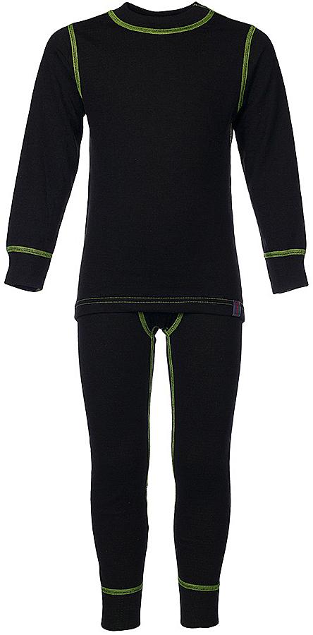 Комплект термобелья для мальчика Oldos Active Warm: футболка с длинным рукавом, кальсоны, цвет: черный, лайм. 002МН. Размер 128, 8 лет002МНКомплект термобелья для мальчика Oldos Active Warm, состоящий из футболки с длинным рукавом и кальсон, предназначен для сохранения тепла и отвода влаги с поверхности тела.Термобелье отличается от обычного белья лучшей способностью сохранять тепло между кожей и тканью, вдобавок оно более эластичное, благодаря чему, оно не стесняет движений, не деформируется и служит дольше. Содержащийся в термобелье воздух, соприкасаясь с телом, нагревается до комфортной температуры. Таким образом, создается защитная прослойка из теплого воздуха между кожей и холодной внешней средой. При физической нагрузке кожа ребенка выделяет влагу, которая накапливаясь в ткани обычного белья, снижает его теплосберегающие свойства. На согревание и испарение этой влаги расходуется дополнительная энергия. Термобелье отводит влагу от тела. Защитная прослойка из теплого воздуха между кожей и внешней средой за счет разницы давления выталкивает влагу из термобелья. Это снижает теплопотери организма в холодную погоду, добавляет ощущение комфорта, защищает организм от перегрева во время физических нагрузок, а также от переохлаждения и простуды после их окончания.Двухслойное полотно - цельно вязаная ткань с различным составом нитей на лицевой и изнаночной сторонах. Плетение нитей TermoActive увеличивает прослойку воздуха между кожей ребенка и внешней средой, повышая тепловые свойства. Синтетический слой внутри быстро и эффективно отводит влагу, а хлопок и шерсть снаружи сохраняют тепло.Кофта с длинными рукавами и круглым вырезом горловины. Рукава дополнены широкими трикотажными манжетами. Горловина дополнена трикотажной резинкой. Спинка незначительно удлинена. Кальсоны на талии имеют широкую эластичную резинку, а брючины дополнены широкими трикотажными манжетами.Комплект термобелья используется как для повседневной носки, так и для активного отдыха. Рекомендуемый темпер