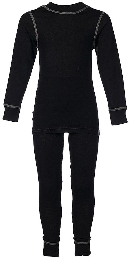 Комплект термобелья для мальчика Oldos Active Base: футболка с длинным рукавом, кальсоны, цвет: черный, серый. 001МН. Размер 104, 4 года001МНКомплект термобелья для мальчика Oldos Active Base, состоящий из футболки с длинным рукавом и кальсон, предназначен для сохранения тепла и отвода влаги с поверхности тела. Термобелье отличается от обычного белья лучшей способностью сохранять тепло между кожей и тканью, вдобавок оно более эластичное, благодаря чему, оно не стесняет движений, не деформируется и служит дольше. Содержащийся в термобелье воздух, соприкасаясь с телом, нагревается до комфортной температуры. Таким образом, создается защитная прослойка из теплого воздуха между кожей и холодной внешней средой. При физической нагрузке кожа ребенка выделяет влагу, которая накапливаясь в ткани обычного белья, снижает его теплосберегающие свойства. На согревание и испарение этой влаги расходуется дополнительная энергия. Термобелье отводит влагу от тела. Защитная прослойка из теплого воздуха между кожей и внешней средой за счет разницы давления выталкивает влагу из термобелья. Это снижает теплопотери организма в холодную погоду, добавляет ощущение комфорта, защищает организм от перегрева во время физических нагрузок, а также от переохлаждения и простуды после их окончания. Однослойное полотно (лицевая сторона гладкая, а изнаночная - с мягким теплым начесом).Кофта с длинными рукавами и круглым вырезом горловины. На рукавах предусмотрены широкие трикотажные манжеты. Горловина дополнена трикотажной резинкой. Кальсоны на талии имеют широкую эластичную резинку, а брючины дополнены широкими трикотажными манжетами.Комплект термобелья используется как для повседневной носки, так и для активного отдыха. Рекомендуемый температурный режим от +5°С до -25°С. Такой комплект термобелья идеально подойдет для прогулок и игр на свежем воздухе!