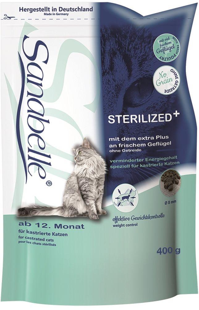 Корм сухой Sanabelle Sterilized для стерилизованных кошек, 400 г57092Особая формула Sanabelle Sterilizedс пониженной энергетической плотностью способствует поддержанию постоянной массы тела кошки и препятствует развитию ожирения, часто являющимся следствием изменения обмена веществ у стерилизованных кошек. Высокое содержание кристаллической клетчатки помогает контролировать чувство голода и уменьшает вероятность переедания. Кроме того, максимально насыщенный омега-3 ненасыщенными жирными кислотами состав эффективно борется с воспалительными процессами в нижних мочевыводящих путях и снижает риск развития мочекаменной болезни. В составе нового корма полностью отсутствуют злаковые, поэтому рацион Sanabelle Sterilized может быть рекомендован даже для кошек с пищевой непереносимостью и аллергией на злаковые. Состав: белок 29,0 %, жир 9,5 %, клетчатка 5,5 %, зола 5,8 %, кальций 1,1 %, фосфор 1,05 %, магний 0,08 %, влажность 10 %. Энергетическая ценность (ккал/100г): 361. Добавки (на 1кг корма): витамин A 17000 МЕ, витамин D3 1500 МЕ, витамин E 150 мг, таурин 2000 мг, медь (сульфат меди, пентагидрат) 10 мг, цинк (оксид цинка) 30 мг, цинк (аминокислотный хелат цинка, гидрат) 40 мг, йод (йодат кальция, безводный) 2 мг, селен (селенит натрия) 0,2 мг.Технологические добавки: антиоксиданты. Ингредиенты: свежее мясо домашней птицы (мин. 20 %), картофельные хлопья, картофельная мука, мука из мяса домашней птицы, картофельный белок, гидролизованный белок, печень (дегидратированная), целлюлоза, пульпа свёклы (без сахара), льняное семя, горох (дегидратированный), рыбий жир, дрожжи (дегидратированные), животный жир, хлорид калия, клюква (дегидратированная), черника (дегидратированная), мука из мидий, порошок цикория, цветки бархатцев (дегидратированные), экстракт юкки (дегидратированный).Товар сертифицирован.
