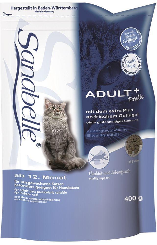 Корм сухой Sanabelle Adult для взрослых кошек, с форелью, 400 г57813Сухой корм Sanabelle Adult с форелью разработан в соответствии с потребностями взрослых (старше года) кошек. Для того, чтобы они могли сохранять свой идеальный вес. Поэтому этот рацион подходит и для кошек, которые проводят всю свою жизнь в закрытом помещении и мало двигаются. Форель, богата легко усваиваемыми протеинами, ненасыщенными жирными кислотами, микроэлементами и витаминами, которые имеют существенное значение в полноценной сбалансированной диете кошки.Гармоничное сочетание таурина, жирных кислот (Омега 3, Омега 6) и цинка ( в легко усваиваемой форме хелатов) способствует сохранению эластичности кожи, придает блеск шерсти, сохраняет зрение и поддерживает естественную сопротивляемость организма. Использование растительных волокон и жиров уменьшает вероятность слипания попавшей в желудок шерсти и облегчает выход уже образовавшихся волосяных шаров. Баластные вещества положительно влияют на стабилизацию кишечной флоры и правильную работу пищеварительной системы.Специально разработанный водный транзит-агент способствует естественному поглощению кошкой достаточного количества воды. Это поддерживает водный баланс в организме, что в сочетании с особыми компонентами, снижающими рН мочи, и низким содержанием магния, стимулирует работу почек и предотвращает формирование камней.Белок 31 %, жир 16 %, клетчатка 3,5 %, зола 6,5 %, кальций 1,1 %, фосфор 1,0 %, магний 0,07 %, влажность 10 %. Энергетическая ценность (ккал/100г): 387. Добавки (на 1кг корма): витамин A 17000 МЕ, витамин D3 1500 МЕ, витамин E 150 мг, таурин 2000 мг, медь (сульфат меди, пентагидрат) 10 мг, цинк (оксид цинка) 30 мг, цинк (аминокислотный хелат цинка, гидрат) 40 мг, йод (йодат кальция, безводный) 2 мг, селен (селенит натрия) 0,2 мг. Технологические добавки: антиоксиданты. Ингредиенты: свежее мясо домашней птицы (мин. 20 %), рис, просо жёлтое, животный жир, мука из форели (мин. 5 %), картофельный белок, печень (дегидратированная), м