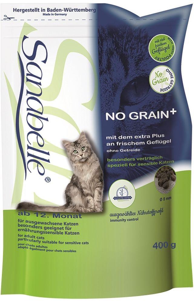 Корм сухой Sanabelle No Grain для взрослых кошек, беззерновой, 400 г57842Сухой корм Sanabelle No Grain разработан в соответствии с потребностями взрослых (старше года) кошек, особенно для кошек, страдающих пищевой аллергией или пищевой непереносимостью. Благодаря хорошей усвояемости, этот рацион подходит и для кошек, которые проводят всю свою жизнь в закрытом помещении и мало двигаются. Этот рацион не содержит глютена и сои – частых источников заболеваний с симптомами пищевой аллергии и непереносимости. При его изготовлении используются только натуральные ингредиенты. В этом рационе используется не стандартная мука из мяса, а свежее мясо домашней птицы - главный ингредиент, стоящий на первом месте. Благодаря этому, корм так нравится кошкам.Увеличение питательности компонентов данного корма позволяет кошке быстрее насыщаться. За счет уменьшения объема порций, съедаемых кошкой, облегчается переваривание пищи.Использование растительных волокон и жиров уменьшает вероятность слипания попавшей в желудок шерсти и облегчает выход уже образовавшихся волосяных шаров.Балластные вещества положительно влияют на стабилизацию кишечной флоры и правильную работу пищеварительной системы.Гармоничное сочетание таурина, жирных кислот (Омега 3, Омега 6) и цинка (в легко усваиваемой форме хелатов) способствует сохранению эластичности кожи, придает блеск шерсти, сохраняет зрение и поддерживает естественную сопротивляемость организма.Специально разработанный водный транзит-агент способствует естественному поглощению кошкой достаточного количества воды. Это поддерживает водный баланс в организме, что в сочетании с особыми компонентами, снижающими рН мочи, и низким содержанием магния, стимулирует работу почек и предотвращает формирование камней.Состав: белок 32 %, жир 16 %, клетчатка 3,0 %, зола 6,5 %, кальций 1,2 %, фосфор 1,1 %, магний 0,08 %, влажность 10 %. Энергетическая ценность (ккал/100г): 390.Добавки (на 1кг корма): витамин A 17000 МЕ, витамин D3 1500 МЕ, витамин E 150 мг, таурин 200