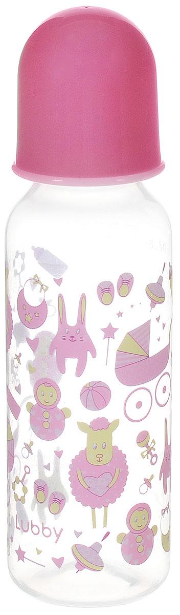 Lubby Бутылочка для кормления с силиконовой соской Малыши и малышки от 0 месяцев цвет розовый 250 мл