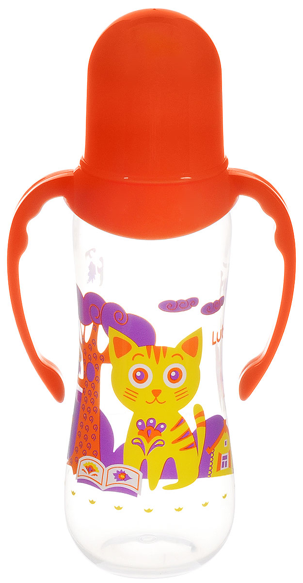 Lubby Бутылочка для кормления Русские мотивы с ручками от 0 месяцев цвет оранжевый 250 мл