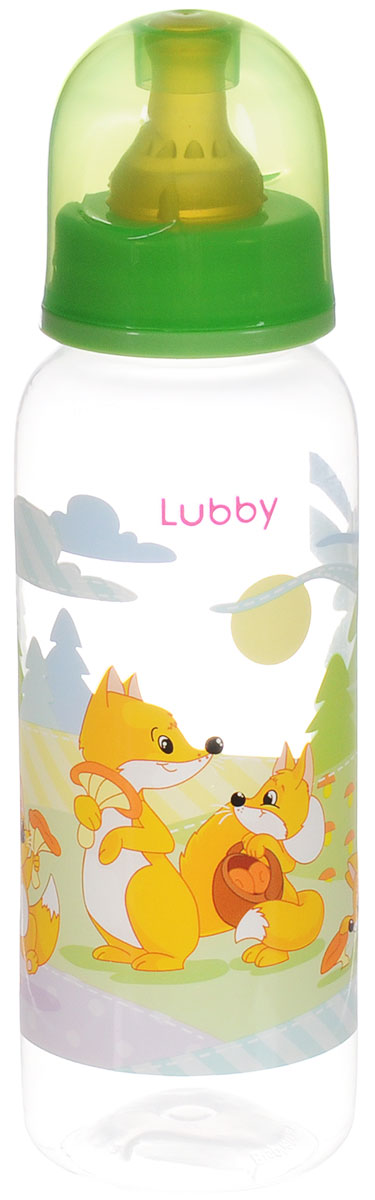Lubby Бутылочка для кормления с латексной соской Веселые животные от 0 месяцев цвет светло-зеленый 250 мл lubby бутылочка для кормления русские мотивы с ручками от 0 месяцев цвет оранжевый 250 мл