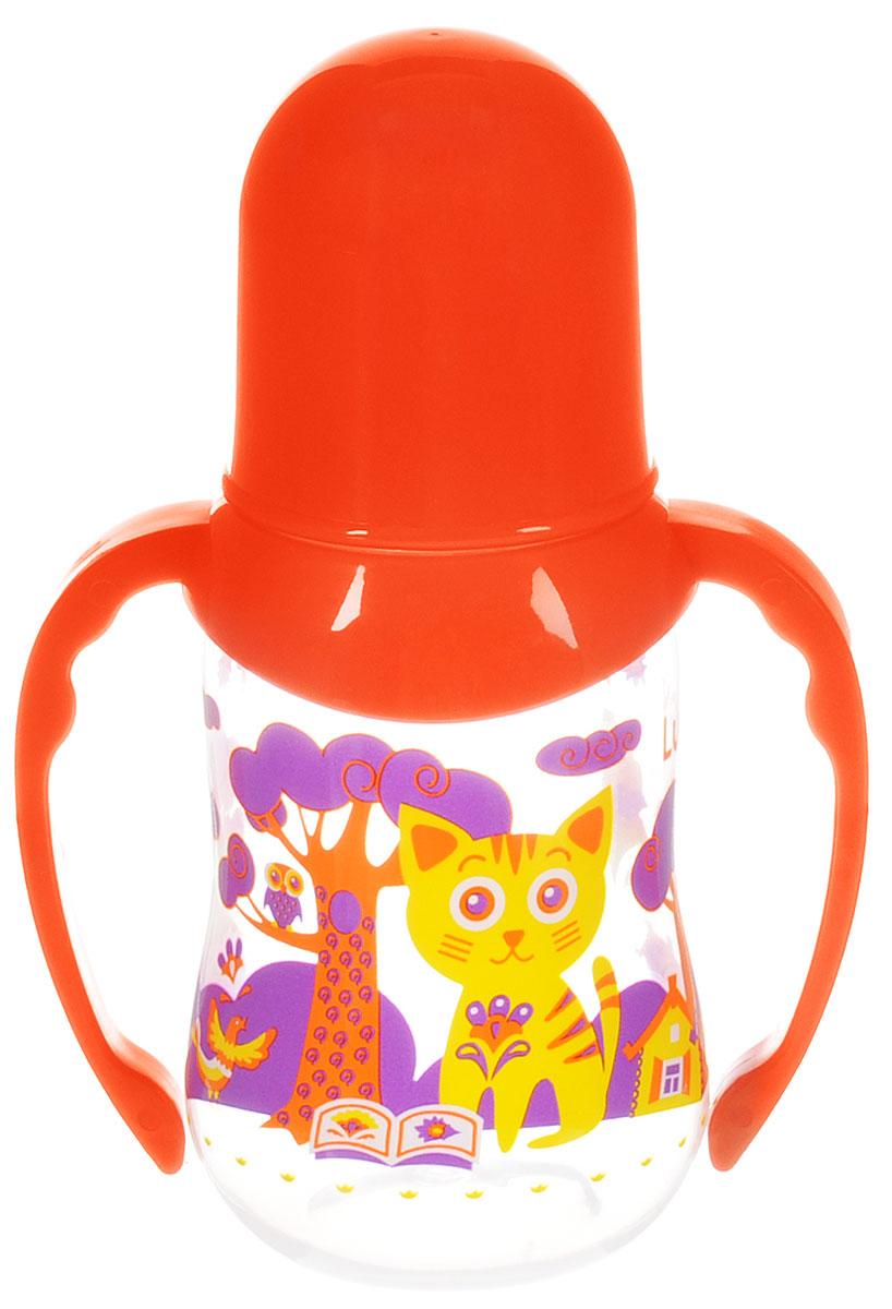 Lubby Бутылочка для кормления Русские мотивы с ручками от 0 месяцев цвет оранжевый 125 мл