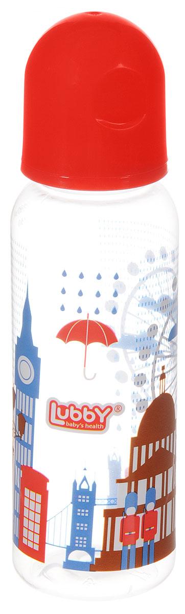 Lubby Бутылочка для кормления с силиконовой соской Я люблю от 0 месяцев цвет красный 250 мл