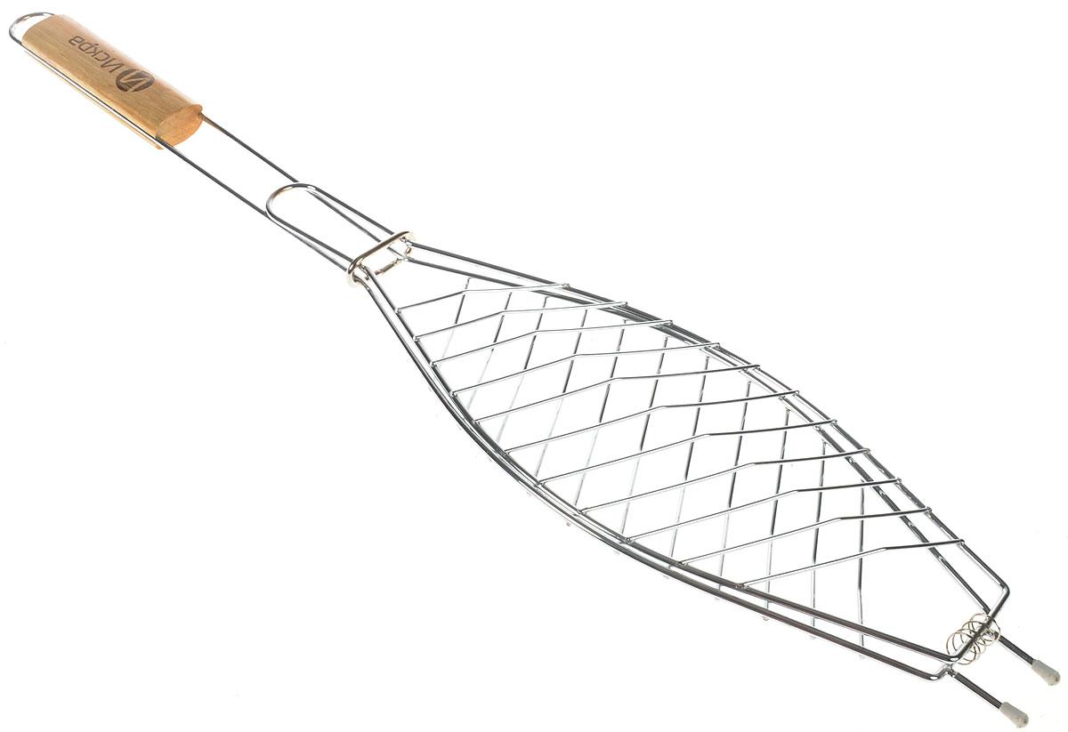 Решетка-гриль для рыбы Искра, 31 х 14 х 1,5 смТДД15899Решетка-гриль для рыбы Искра изготовлена из высококачественной стали. Деревянная ручка предохраняет руки от ожогов. Решетка имеет неоспоримое преимущество перед шампурами о том, что продукцию можно готовить порционно, будь то антрекоты, эскалопы, колбаски, куриные крылышки и ножки, рыба.Размер решетки: 31 х 14 х 1,5 см. Длина деревянной ручки: 12 см.