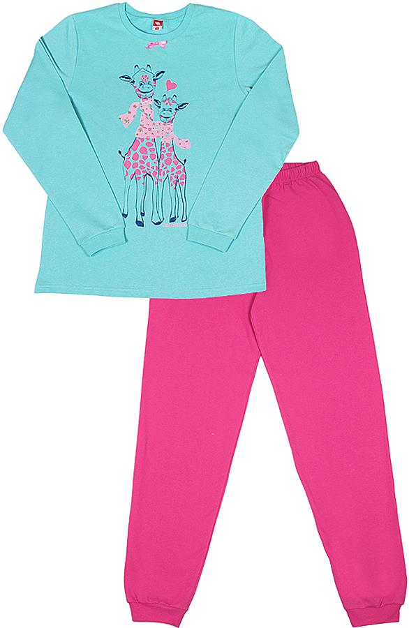 Пижама для девочки Cherubino, цвет: голубой, фуксия. CAJ 5318. Размер 158 брюки для девочки btc цвет черный 12 017900 размер 40 158