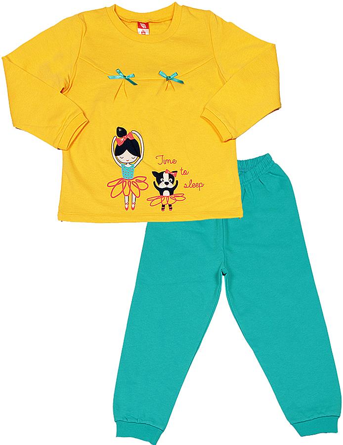 Пижама для девочки Cherubino, цвет: желтый, бирюзовый. CAB 5305. Размер 86 комбинезон для девочки cherubino цвет желтый can 9623 142 размер 86