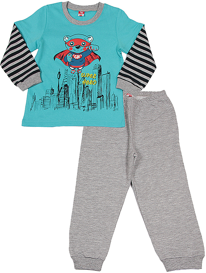 Пижама для мальчика Cherubino, цвет: бирюзовый, серый меланж. CAB 5288. Размер 86 фонарь красная цена 5288