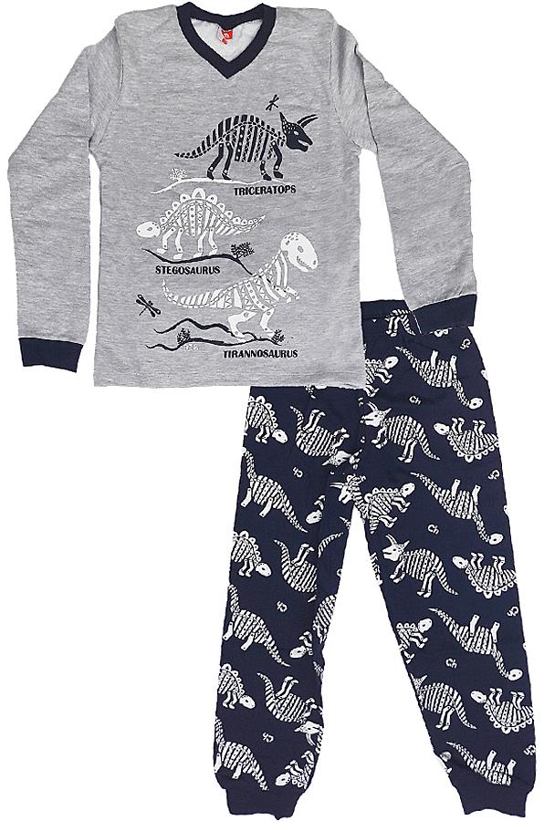 Пижама для мальчика Cherubino, цвет: серый меланж, темно-синий. CAJ 5298. Размер 134CAJ 5298Пижама для мальчика Cherubino выполнена из хлопкового трикотажа с начесом. Состоит из лонгслива с длинным рукавом и брюк. Лонгслив с с V-образным вырезом горловины спереди оформлен принтом с изображением динозавров. Брюки на широкой эластичной резинке. Брючины дополнены трикотажными манжетами.