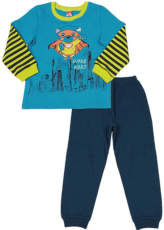 Пижама для мальчика Cherubino, цвет: синий, желтый. CAB 5288. Размер 86 фонарь красная цена 5288