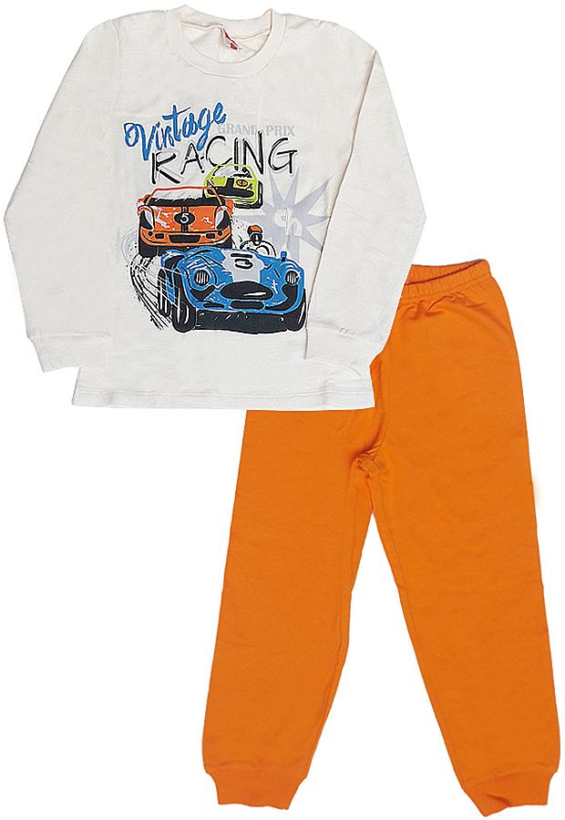 Пижама для мальчика Cherubino, цвет: бежевый, оранжевый. CAK 5294. Размер 110CAK 5294Пижама для мальчика Cherubino выполнена из хлопкового трикотажа с начесом. Состоит из лонгслива с длинным рукавом и брюк. Лонгслив с круглым вырезом горловины спереди оформлен принтом машины. Брюки на широкой эластичной резинке, брючины дополнены трикотажными манжетами.