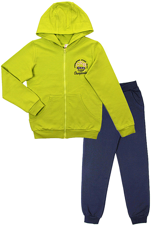 Спортивный костюм для девочки Cherubino, цвет: салатовый, темно-синий. CAJ 9654. Размер 134CAJ 9654Спортивный костюм для девочки Cherubino состоит из толстовки на застежке-молнии и брюк контрастного цвета. Толстовка с капюшоном спереди дополнена накладным карманом кенгуру. Брюки с широкой резинкой в поясе. Низ брючин дополнен эластичными резинками.