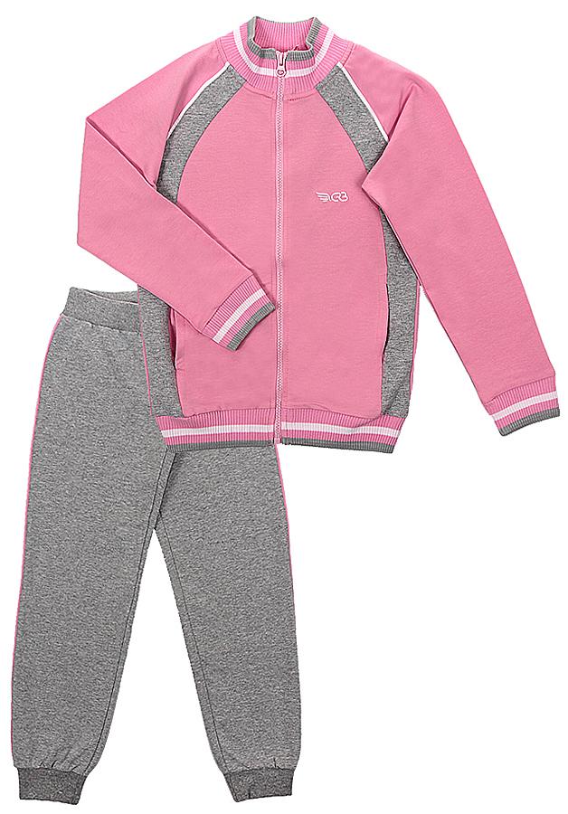 Спортивный костюм для девочки Cherubino, цвет: светло-розовый, серый меланж. CAJ 9655. Размер 134CAJ 9655Костюм спортивный Cherubino для девочки состоит из кофты и брюк, изготовленных из хлопка с добавлением полиэстера и эластана, благодаря чему они не сковывают движения ребенка и позволяют коже дышать. Кофта с воротником-стойкой, длинным рукавом, на застежке-молнии. Брюки дополнены широкой резинкой на талии и оформлены контрастными лампасами. Низ брючин дополнен эластичными резинками.