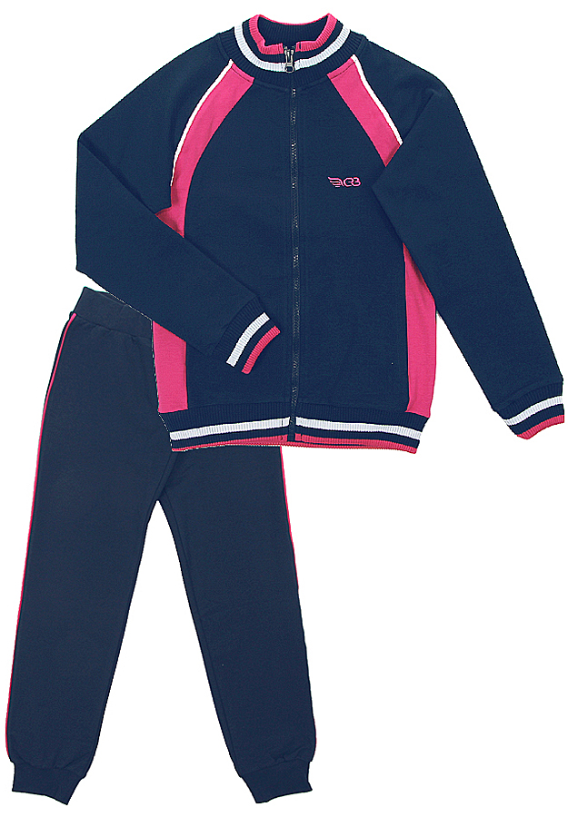 Спортивный костюм для девочки Cherubino, цвет: темно-синий. CAJ 9655. Размер 140CAJ 9655Костюм спортивный Cherubino для девочки состоит из кофты и брюк, изготовленных из хлопка с добавлением полиэстера и эластана, благодаря чему они не сковывают движения ребенка и позволяют коже дышать. Кофта с воротником-стойкой, длинным рукавом, на застежке-молнии. Брюки дополнены широкой резинкой на талии и оформлены контрастными лампасами. Низ брючин дополнен эластичными резинками.