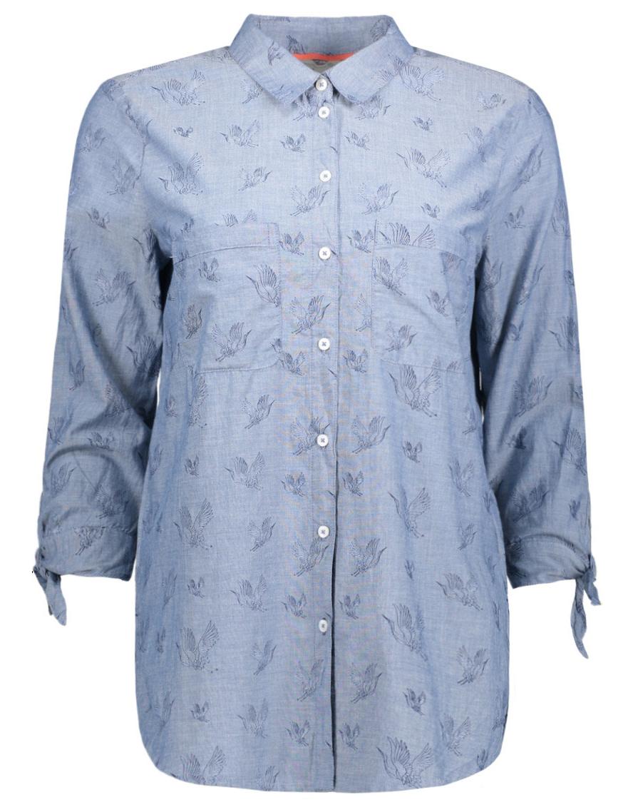 Блузка женская Tom Tailor, цвет: синий. 2055012.00.71_1008. Размер L (48)2055012.00.71_1008Женская блузка от Tom Tailor выполнена из натурального хлопка. Модель с рукавами 3/4 и отложным воротником застегивается на пуговицы, на груди дополнена накладными кармашками.