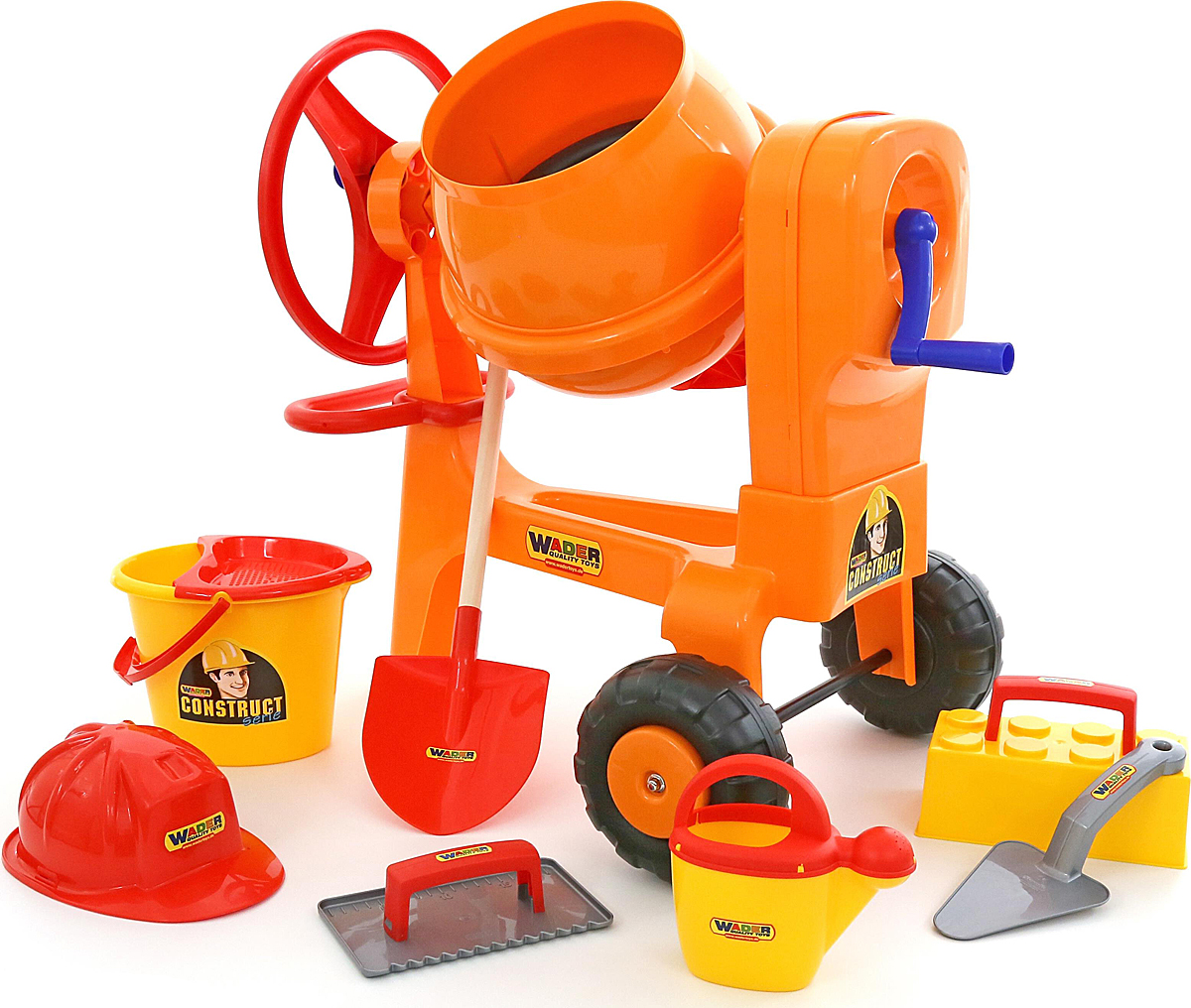 Полесье Бетономешалка Construct + набор игрушек для песочницы каменщика №7 Construct полесье лопата 24