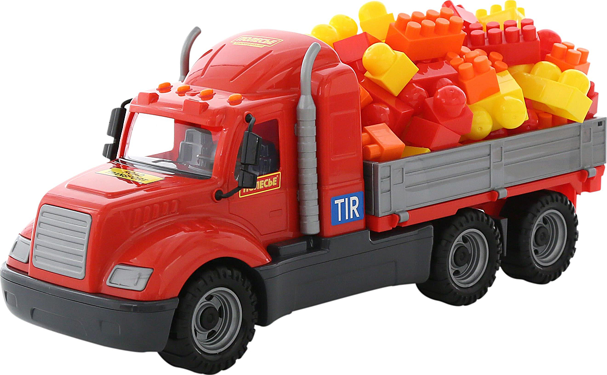 Полесье Грузовик бортовой Майк и конструктор Супер-Микс 60 элементов 55514 полесье грузовик бортовой майк домик для зверей 55521